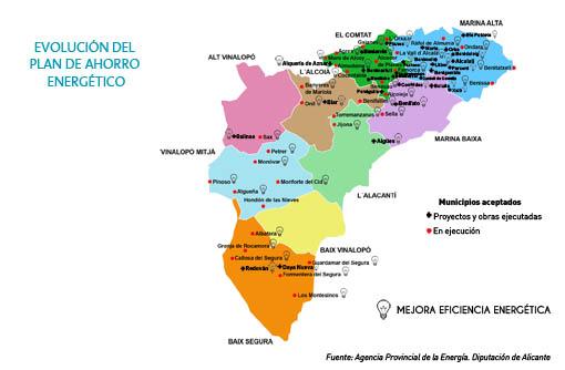 La Diputacion de Alicante alcanza el 64 por ciento de la programación de los planes de ahorro energetico de la provincia